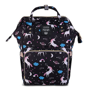Baby Changing Bag | Unicorn Themed | Back Pack | Black Multi-Coloured
