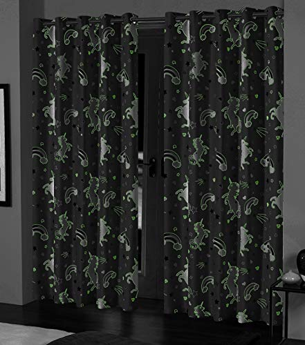 Glow In The Dark Unicorn Curtains For Kids