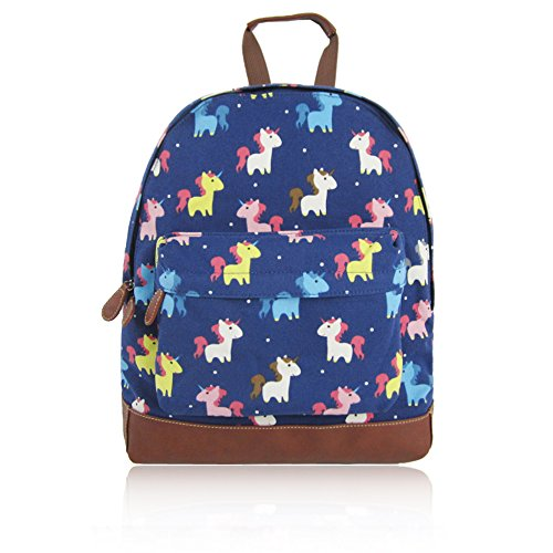 Unicorn Backpack - Blue, Leather and Rainbow Colours