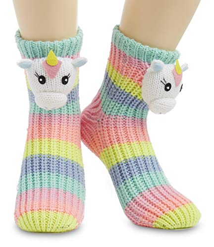 Knitted Unicorn Slipper Socks Rainbow Colours