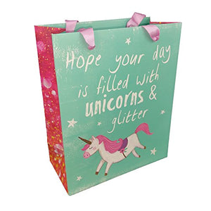 Pack of 6 - Gorgeous Medium Gift Party Bag Colourful Unicorn Print