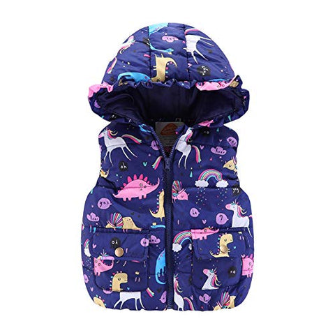 Toddler Girls Unicorn Navy Blue Gilet Outerwear | 3-4 Years