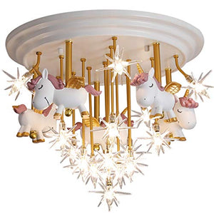 Unicorn Chandelier LED Ceiling Light, Creative Children's Room- White, Gold, Pink, Stars