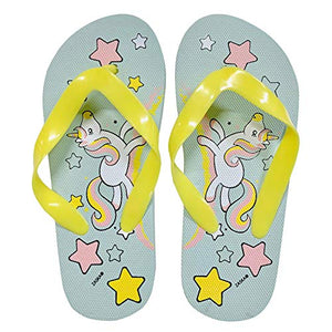 Girls Unicorn rubber flip flops pastel colours