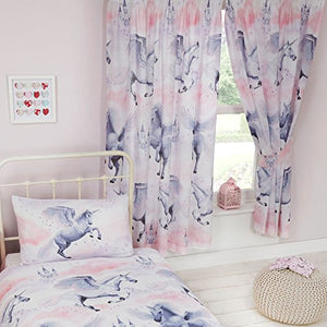 Unicorn themed lined curtains