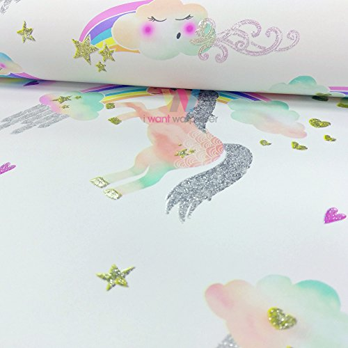 Arthouse Rainbow Unicorn Pattern Childrens Wallpaper Glitter Pony Heart Motif (White 696109)