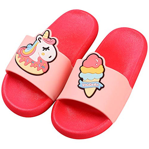 Tacobear Summer Slide Sandals Bathroom Slipper for Kid Unicorn Dinosaur Beach Slipper Anti-Slip Pool Shower Shoes for Boys Girls Children Red