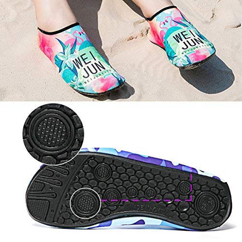 Mens and Womens Beach Water Shoes Barefoot Yoga Socks Aqua Socks Quick-Dry Surf Swim Shoes, Star Unicorn M