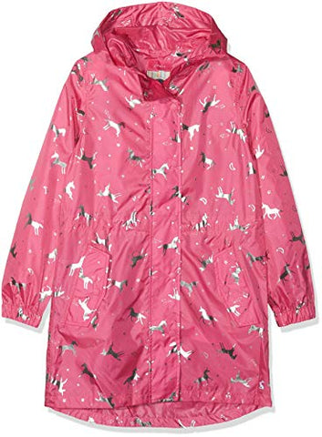 Joules Girl's Golightly Rain Jacket |  Pink & Silver | Unicorn | 3- 12 Years