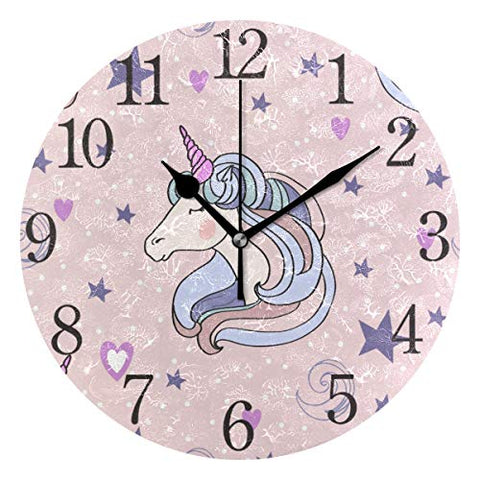 Unicorn Wall Clock For Girls Bedroom | Pink