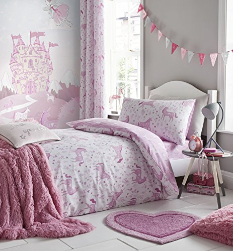 Catherine Lansfield Folk Unicorn single Duvet Set, Pink