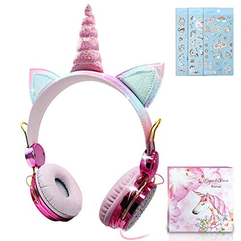 Unicorn Kids Headphones | Unicorn Ears & Horn | Multicoloured Pastel