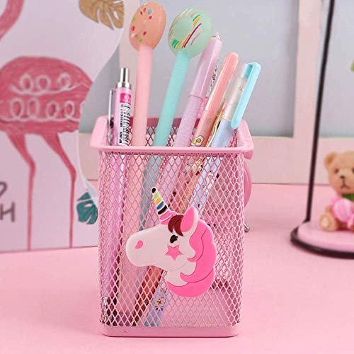 Pink Metal Unicorn Pen Pot Holder
