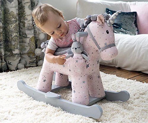 Grey and white unicorn rocker for toddler