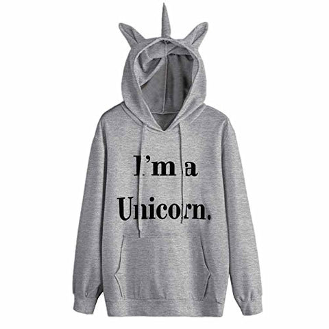 LILICAT Clothing High Quality Womens Unicorn Print Long Sleeve Hoodie Sweatshirt Jumper Hooded Pullover Tops, Autumn Winter New (Grey, Size:S)