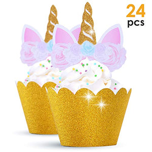 Gold unicorn cupcake case