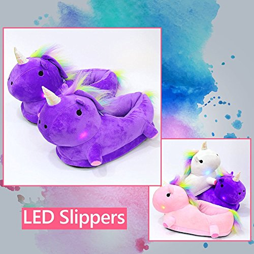 Lakumo LED Unicorn Slippers With Light Women Slip On Animal Home Shoes Light up Stuffed Slipper With Lamp For Girls Ladies
