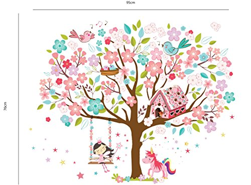 Kath & Cath Rainbow Unicorn, Pink Fairy, Gingerbread House, Singing Birds and Cherry Blossoms Tree Wall Stickers -Kids Girls Room Vinyl Removable Self-Adhesive Multi-colour Wall Mural Art Home Decoration