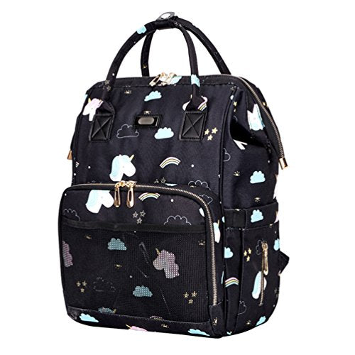 Multifunction Baby Diaper Backpack Bag, Waterproof Travel Nappy Changing Bag with Large Capacity and Stylish Design Pushchair Straps Mommy Bag for Baby Care (Unicorn Black)