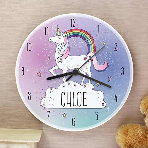 Personalised name unicorn wall clock. Pink, purple, cloud, rainbow. Pretty unicorn