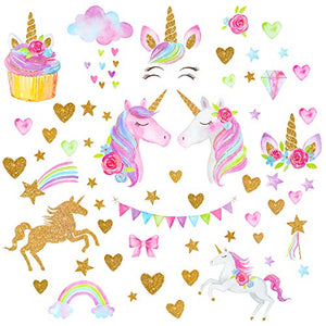 Unicorn Wall Stickers for Girls & Boys Bedroom | Multi Coloured