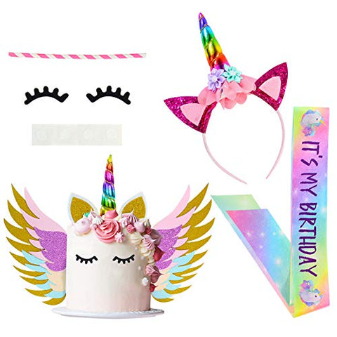 Rainbow Unicorn Cake Topper | Unicorn Birthday Party | Includes Headband, Sash, Ears, Eyelashes, Wings