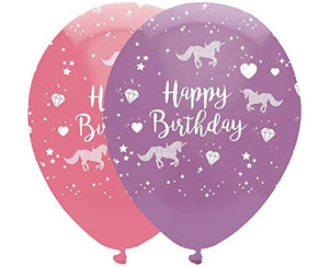 Cute unicorn happy birthday balloons