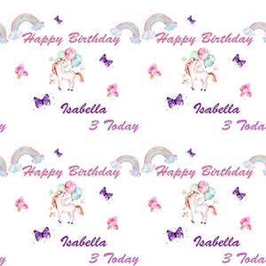 Unicorn Rainbow & Balloons Personalised Birthday Gift Wrap with 2 Tags