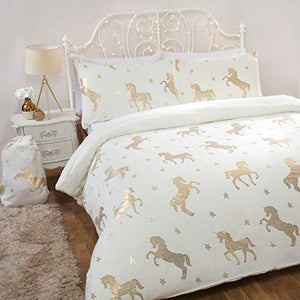 Ivory & Gold Unicorn Stars Reversible Soft Duvet Cover | Bedding Set With Pillowcase | Single