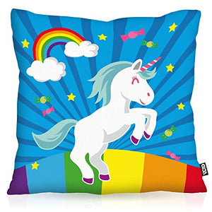 Fun and colourful unicorn rainbow and candy cushion cover 50x50cm