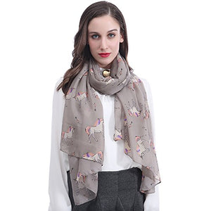 Lina & Lily Unicorn Animal Print Women's Scarf Oversized (Grey)
