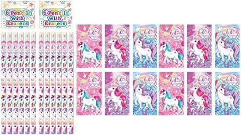 Unicorn Party Fillers - Unicorn Notebooks & Unicorn Pencils (12 Pack)