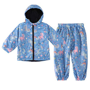 Girls Waterproof Raincoat & Trouser Set | Unicorn Design | Blue | 2 Pcs