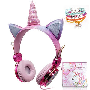 Kids Sparkly Unicorn Headphones | Adjustable Headsets | For Girls - Children