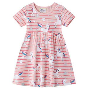 cute unicorn print dress pink