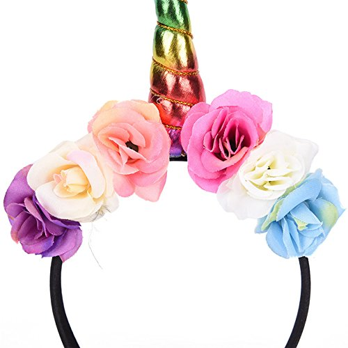 5 Pcs Girls Unicorn Horn Headband with Flowers for Unicorn Cosplay Costume Party Favors by TOYZHIJIA