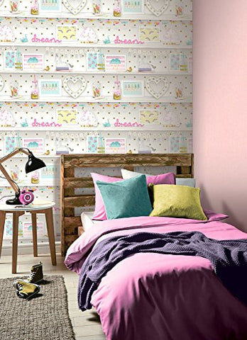 Funky & Cool Arthouse Girl's Life Multi Wallpaper 53 x 7