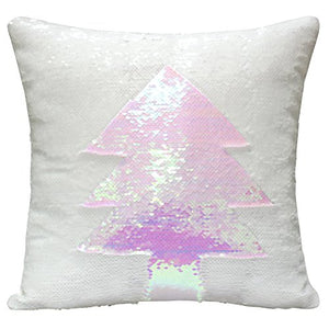 "DrCosy Mermaid Pillow Case 16""x16"" Magic reversible Sequins Pillow Covers (White/Fancy White)"