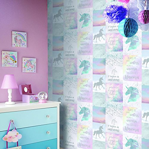 Stunning unicorn quote wallpaper girls bedroom.