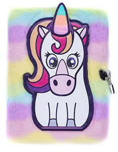 FRINGOO® Rainbow Unicorn Plush A5 Notebook Diary 3D with Padlock and Bookmark