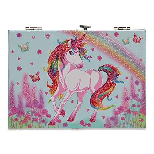 Rainbow Unicorn Glitter Jewellery box for girls