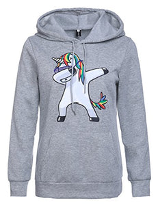 Stephaee Women's Cute Unicorn Print Hoodie Sweatshirt Casual Pullover Hooded Jumper Top Grey S