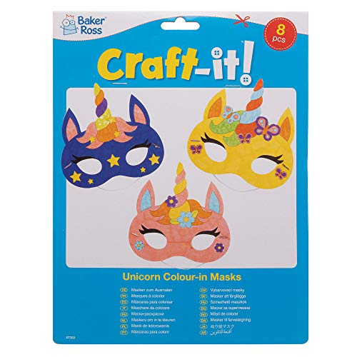 Baker Ross Unicorn Colour in Masks, Arts and Crafts for Kids