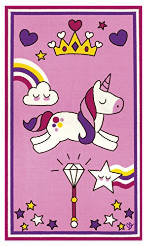 Fun pink unicorn rug featuring stars rainbows clouds. Perfect for kids playroom or bedroom