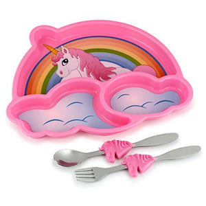 Unicorn Portion Control Divided Plate with Fork and Spoon for Kids - Pink