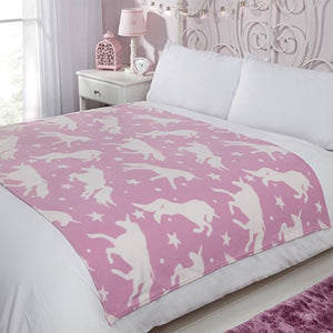 Unicorn & Stars Fleece Blanket | Throw | 120 x 150 cm | Pink & White