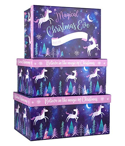 Set Of 3 Unicorn Christmas Eve Gift Boxes - Purple