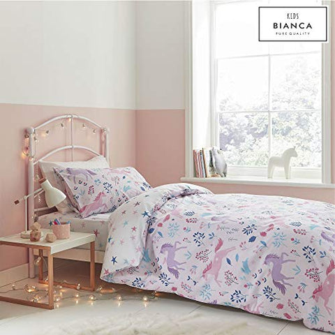 Woodland Unicorn And Stars Cotton Print Single Duvet Set Pink | Catherine Lansfield