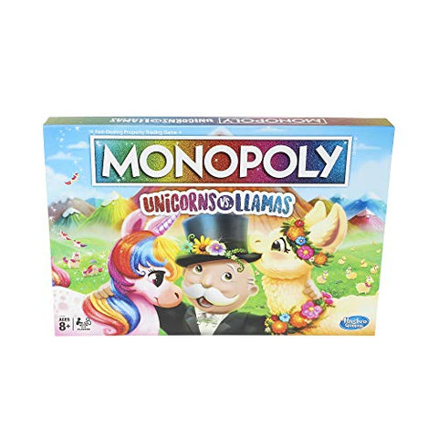 Monopoly Unicorns vs. Llamas Board Game | Ages 8+ | Gift Idea