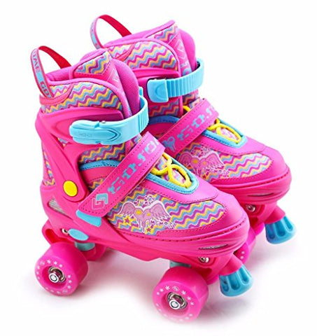 Kids Adjustable Quad Roller Skates | Unicorn Pink | 4 Wheeled